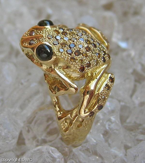 Diamantring gold  Diamantring Ring mit Diamant Diamanten Frosch Tier aus 750 Gold ...