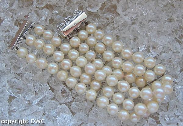 Perlenarmband 3 - reihig in aus 585er Weißgold Mit Perle Perlen Gold ...