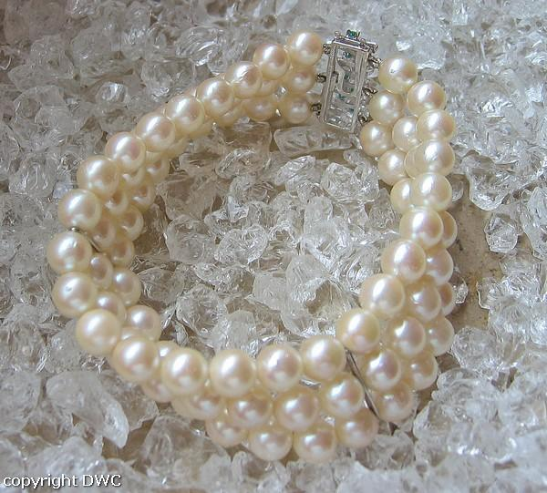 Perlenarmband Armband mit Perle Perlen Smaragde aus 585 Gold Länge ...