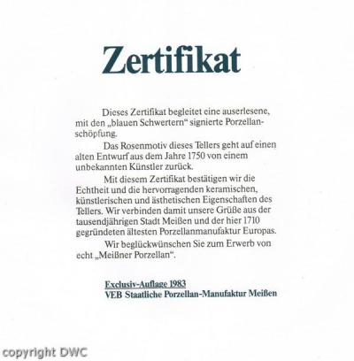 Wandteller Porzellanteller Teller Marke Meissen mit Zertifikat Blume ...