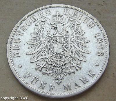 Coin Münze 5 Mark Karl König Von Württemberg 1876 F 900 Silber Geld