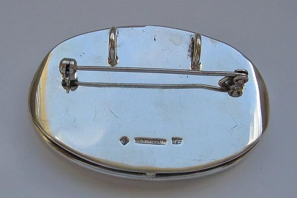 Achatbrosche Brosche Mit Achat Agate In Aus 925 Silber Silver Handarbeit Platte Broschen & Anstecknadeln