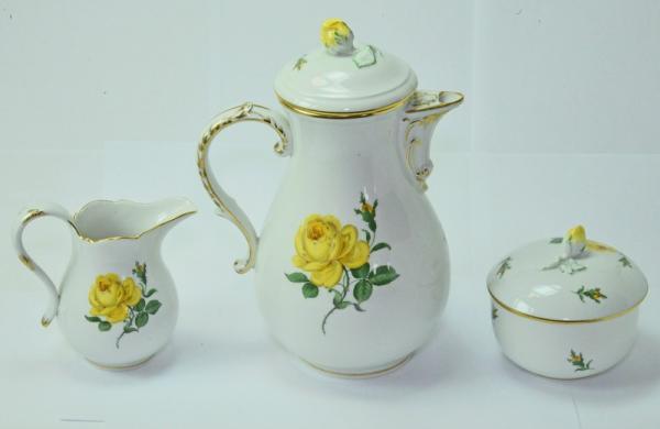 Kaffeeservice original meissen porzellan gelbe rose f r 6 for Gelbe tafel