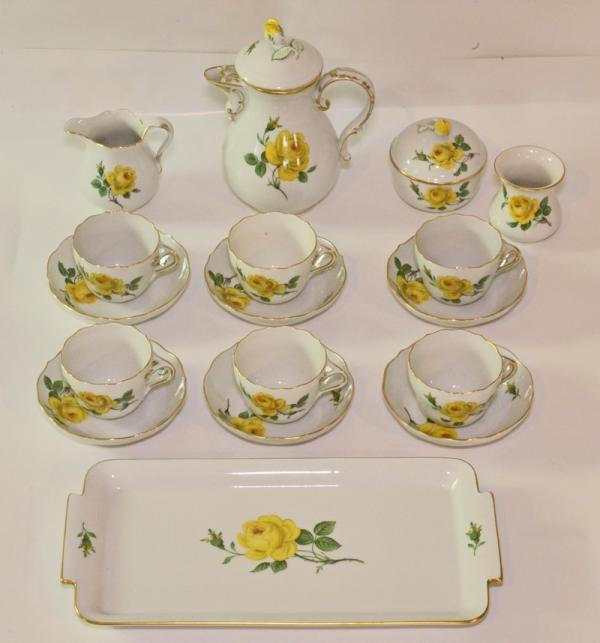 Moccaservice original meissen porzellan gelbe rose f r 6 for Gelbe tafel