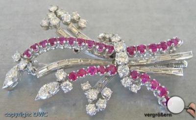 Nadel Brosche Mit Brillant Diamant Rubin Brillant In Aus Platin Rubinen Echtschmuck