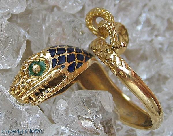 Schlangenring Gold Ring Ringe in 18Kt 750 Gold mit Email Schlangen