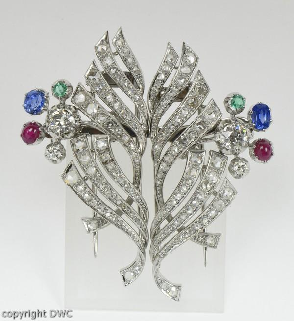 Uhren & Schmuck Ansteck Nadel Brosche Mit Smaragd Saphir Saphire Rubin Brillant Platin