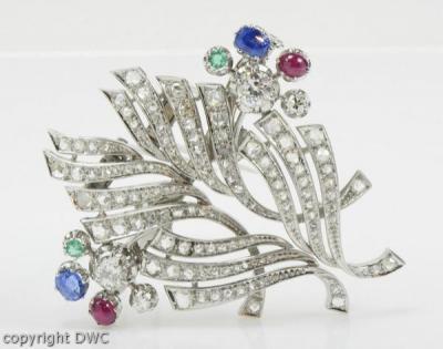 Diamanten & Edelsteine Unikate & Goldschmiedearbeiten Ansteck Nadel Brosche Mit Smaragd Saphir Saphire Rubin Brillant Platin